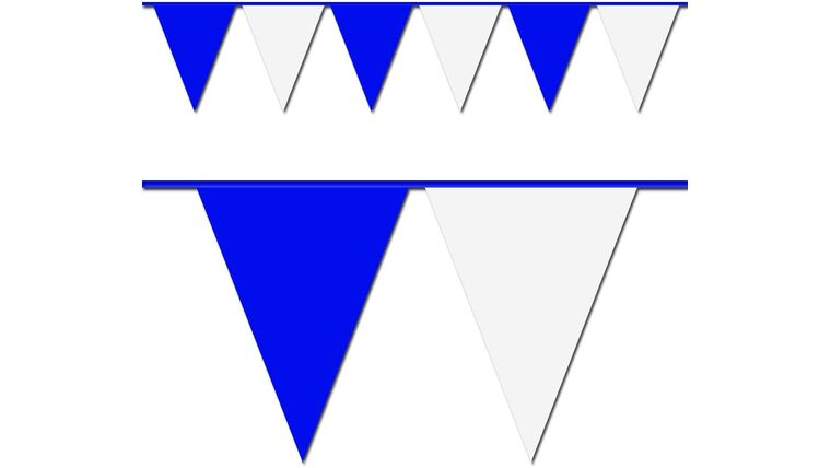 Picture of a 100 ft. Blue and White Triangle Pennant Flag Rental