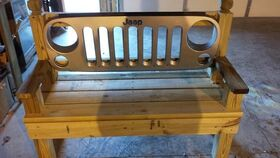 Image of a 4' Wood Jeep Bench Rental