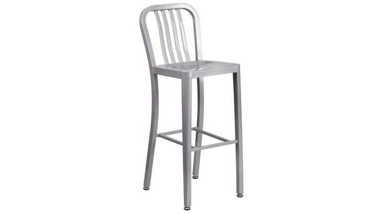 """Picture of a 30"""" High Silver Metal Indoor-Outdoor Barstool with Vertical Slat Back"""