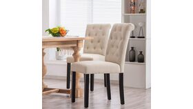 Image of a Beige Fabric Habit Solid Wood Tufted Parsons Dining Chair