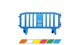 Image of a 6.5 Ft. Blue Movit Interlocking Plastic Crowd Barricade Rental