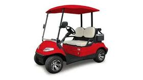 Image of a 2 Passenger Electric Powered Golf Cart With Golf Club Straps