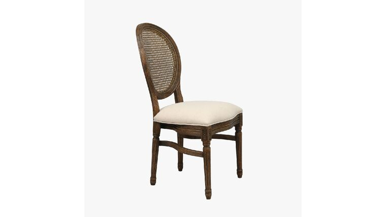 Picture of a Antique Brown Louis XIV Chair w/Round Rattan Back