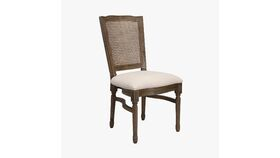 Image of a Antique Brown Louis XIV Chair w/Square Rattan Back