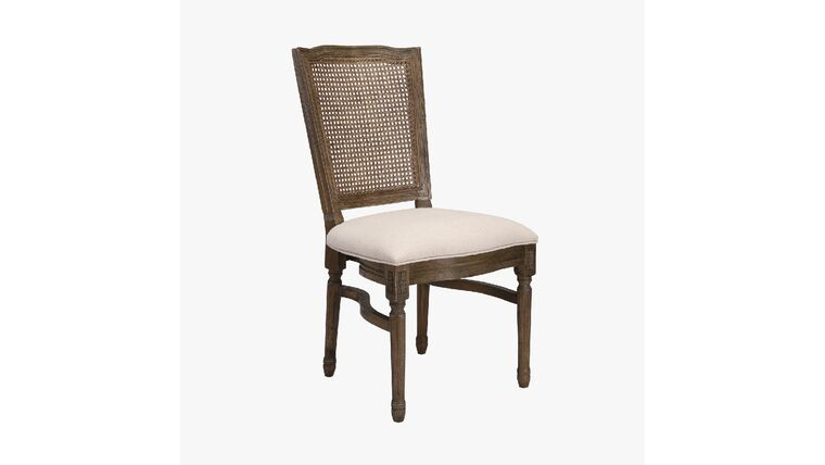 Picture of a Antique Brown Louis XIV Chair w/Square Rattan Back