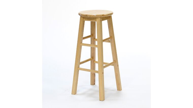 24″ Natural Wood Square Leg Barstool Rental : goodshuffle.com