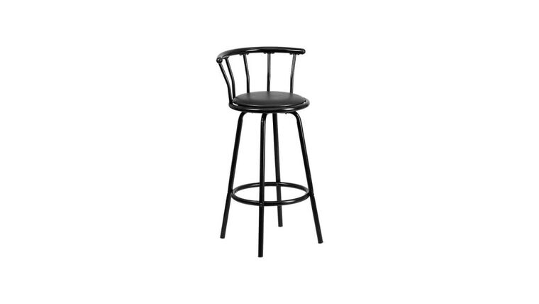 Picture of a Black Metal Swivel Barstool With Seat Back Rest Rental
