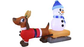 Image of a 8 FT Puppy Long Inflatable with Build-in LEDs Blow Up Inflatables for Xmas Party Indoor, Outdoor, Yard, Garden, Lawn Winter Decor.