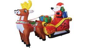 Image of a 7 ft Christmas Inflatable Santa Reindeer Sled Outdoor Decoration LED Lights - Cute Fun Xmas Blow Up Yard Lawn