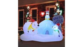 Image of a 6 FT Long North Pole Inflatable with Build-in LEDs Blow Up Inflatables for Christmas Party Indoor, Outdoor, Yard, Garden, Lawn Décor, Holiday Season Decorations