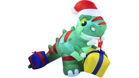 Image of a Christmas Inflatable Decoration 6ft Dinosaur Inflatable with Build-in LEDs Blow Up Inflatables for Xmas Party Indoor, Outdoor, Yard, Garden, Lawn, Winter Decor