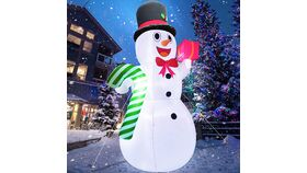 Image of a 10 Feet Giant Christmas Inflatables Snowman Candy Cane Christmas Outdoor Decorations with LED Lights Stakes Tethers Holiday Christmas Inflatables Outdoor Decoration Blow Up Yard Decoration
