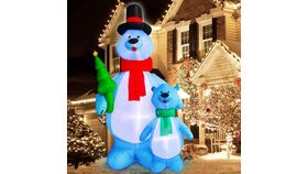 Image of a 10Ft Tall Christmas Inflatables Blow up Polar Bears Family Holding Christmas Tree with Tether Stakes LED Lighted Christmas Decoration Holiday Yard Outdoor Lawn Garden Home Party Decoration