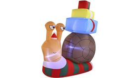 Image of a 6 FT Tall Cute Snail with a Stack of Gifts Inflatable with Build-in LEDs Blow Up Inflatables for Xmas Party Indoor, Outdoor, Yard, Garden, Lawn, Winter Decor, Christmas Inflatable Decoration