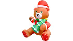 Image of a 6 Ft Inflatable Christmas Cute Teddy Bear Holding Tree LED Blow Up Lighted Decor Indoor Outdoor Holiday Art Decor Decorations