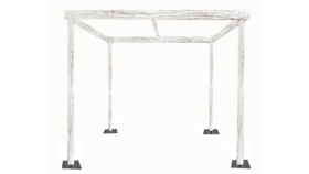Image of a Cabana - 15' x 15' x 8'h White Rustic Wood Cabana