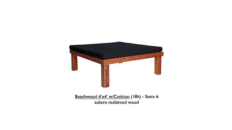 """Picture of a 4' x 4' x 18""""h Black Beechwood Ottoman With Cushion"""