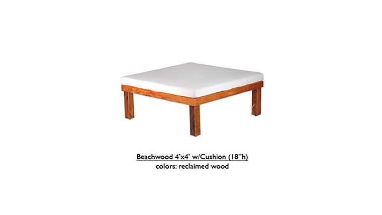 """Picture of a 4' x 4' x 18""""h White Beechwood Ottoman With Cushion"""