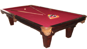 Image of a Mahogany Billiards/Pool Game Table With Cues, Balls And Rack