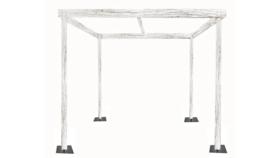 Image of a Cabana - 8' x 8'w x 8'h White Rustic Wood Cabana