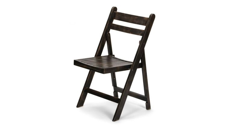 Picture of a Antique Black Slatted Wood Folding Chair