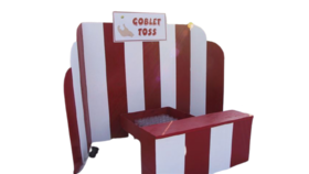 Image of a Scalloped Red & White Wood Carnival Booth