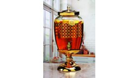 Image of a Gold Glass Beverage Dispenser with Metal Stand and Lid, Huge 3 Gallon