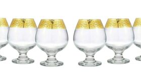 Image of a Gold Rimmed Cognac Brandy Snifters Greek Glass