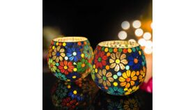 Image of a Glass Candle Holder Votive Light Mosaic Glass 4 Inch