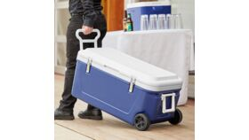Image of a Blue 84 Qt. Cooler with Wheels and Tow Handle