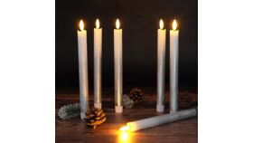 Image of a Flame LED Flickering Taper Candles with 6 Hour Timer,  Batteries Operated Flameless Taper Candles Real Wax Warm Light