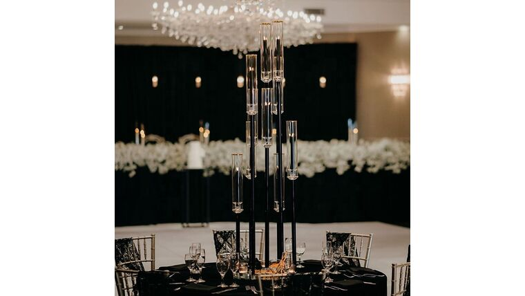 Picture of a 10 Arm Black Ghost Candelabras wit Chimney Centerpiece 39.9 Inches Height