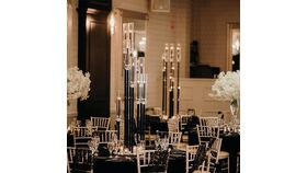 10 Arm Black Ghost Candelabras wit Chimney Centerpiece 39.9 Inches Height image