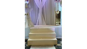 Image of a 4FT. White Acrylic and Wood Stage Steps