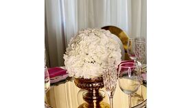 "Image of a White Hydrangea Flower Ball  10"" With Gold Vase Centerpiece small"