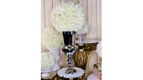 "Image of a White Hydrangea Flower Ball  16"" With Silver Vase Centerpiece Large"