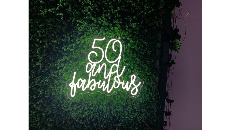Picture of a 50 and Fabulous LED Sign