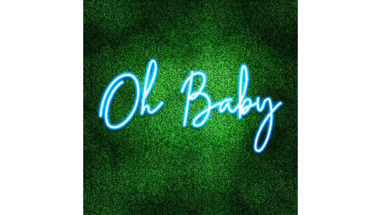 Picture of a Oh Baby Blue LED Sign