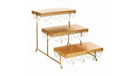 Image of a Gold 3 Tier Rectangular Serving Platter Stands with Crystals