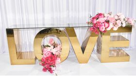 LOVE GOLD STAINLESS STEEL DISPLAY LETTER TABLE image