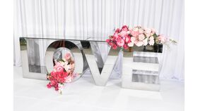 LOVE SILVER STAINLESS STEEL DISPLAY LETTER TABLE image