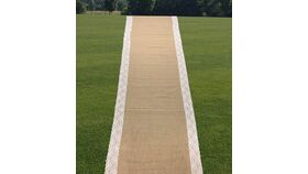 Image of a Burlap Wedding Aisle Runner 48-inches by 50 feet   White / Ivory 5 Inches Lace on Both Sides Eco-Friendly, Natural Jute Product