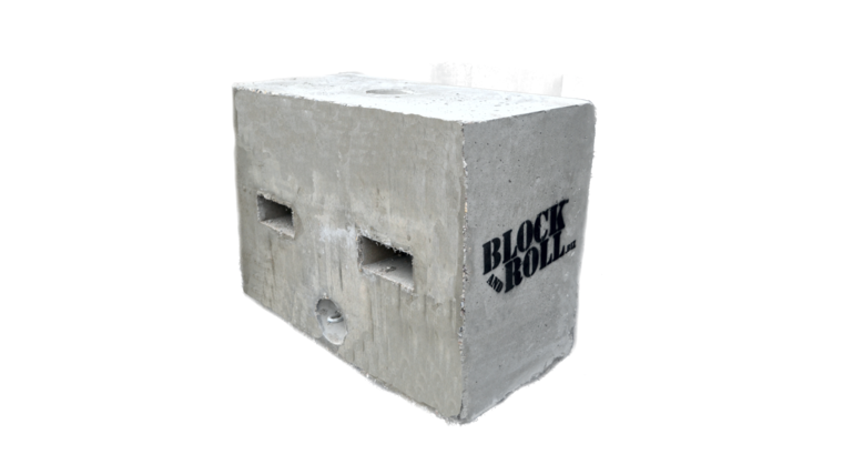 Picture of a 1750 Pound Block & roll tent weight with cover