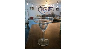 Image of a Margarita glass 8 oz  ( Green with  red Rack )