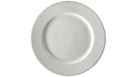 Image of a 10 5/8 white dinner plate Strawberry fields