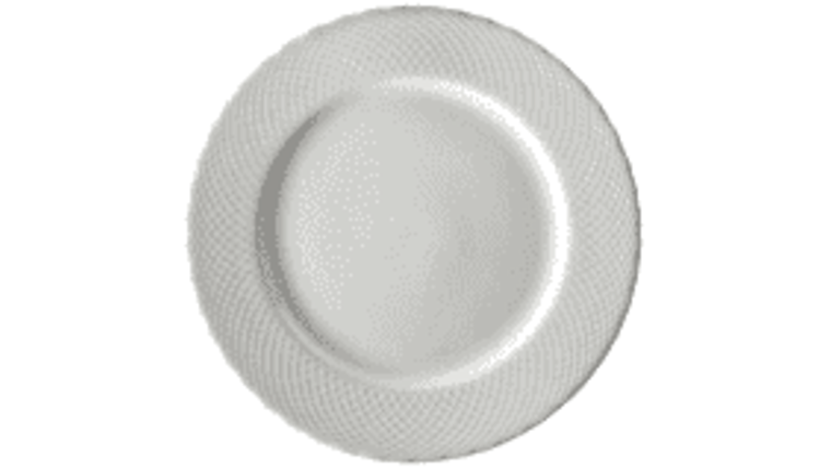 Picture of a 10 5/8 white dinner plate Strawberry fields