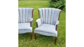 Image of a Baby Blue Channel Chairs