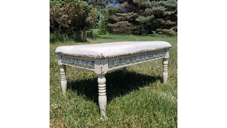 Picture of a Cream Leather Top Ottoman