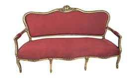 Image of a Constance - Gold Red Velvet Sofa
