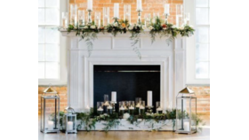 Image of a Fireplace, Greenery & Florals